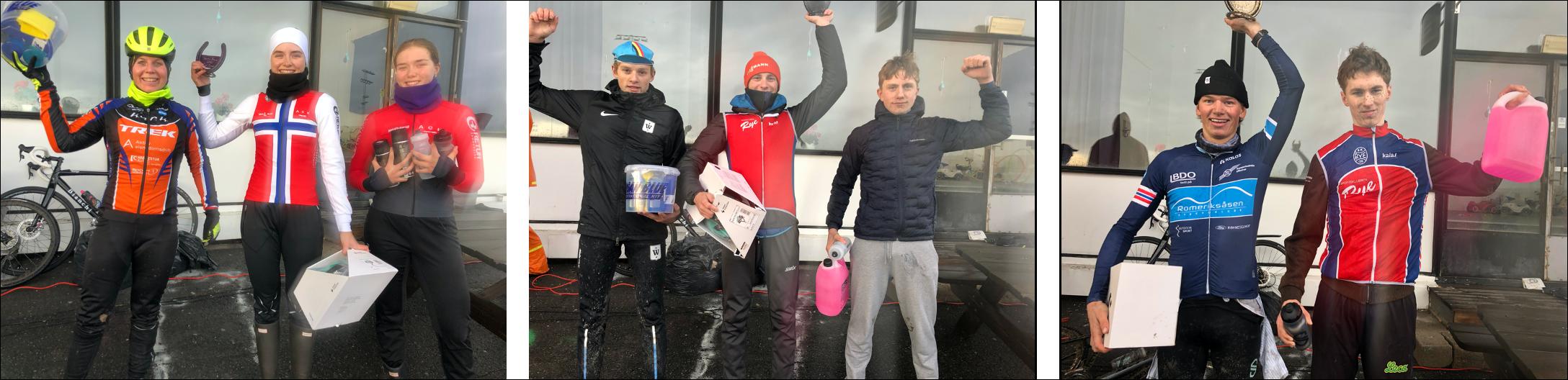 Vinnerne av det gjeve Bjerkekrosstroféet og premier fra Sørensen sykkel og Spinn Majorstua.